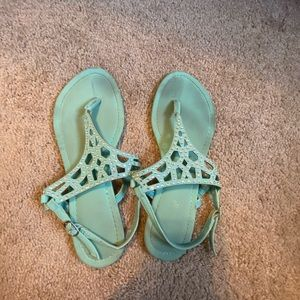 Size 8 blue sandals with jems